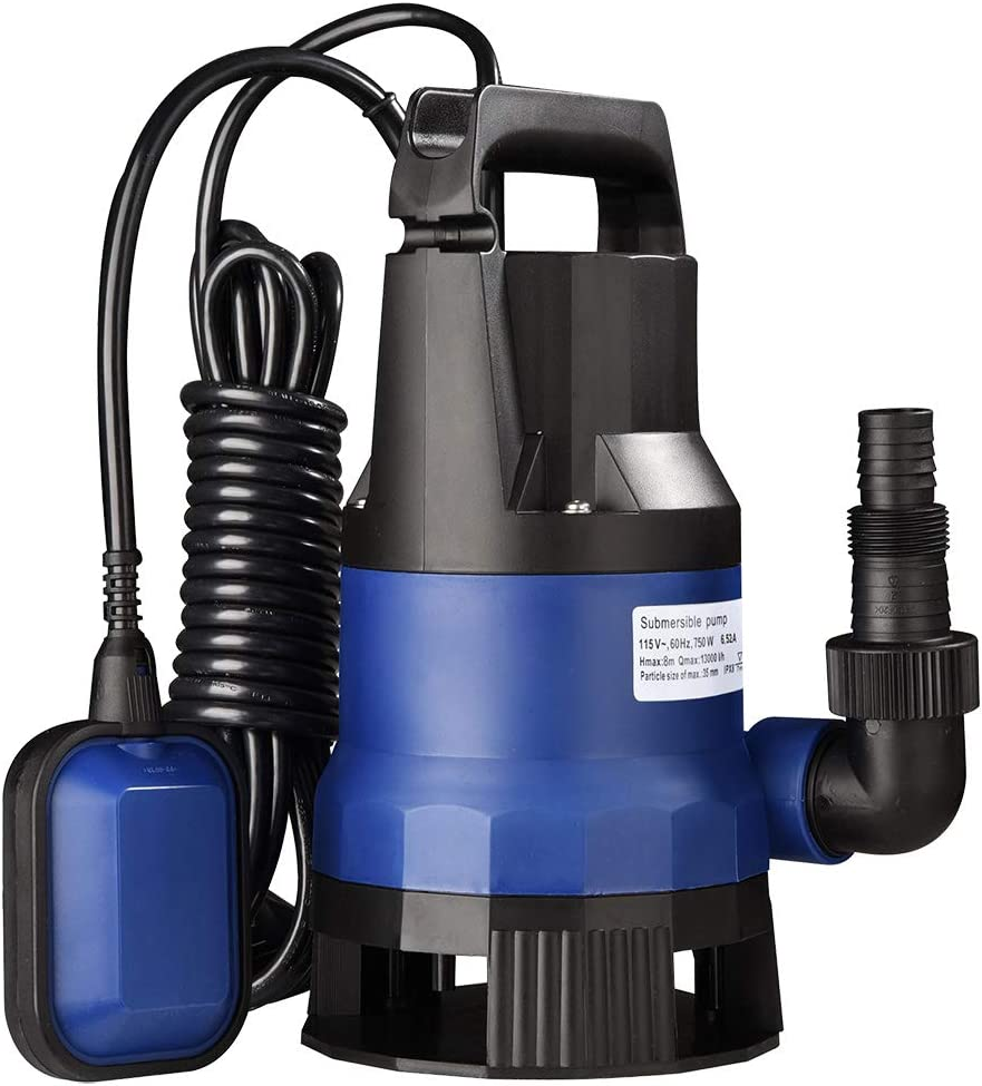 Gardens MYLEK 750w Submersible Electric Water Pump with 25m Layflat Hose for Clean or Dirty Water with Float Switch Ponds /& More Wells for Floods Pools