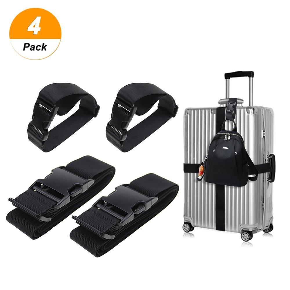 Add a Luggage Straps,Yotako 4 Pieces Luggage Straps Suitcase Belts Travel Bag Attachement Accessories Black