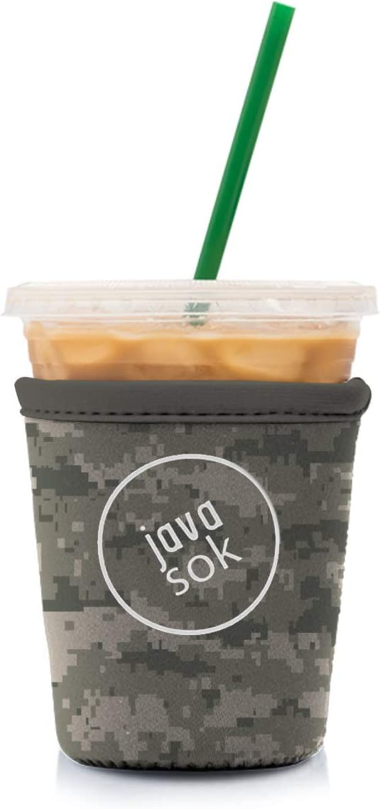 Java Sok Reusable Iced Coffee Cup Insulator Sleeve for Cold Beverages and Neoprene Holder for Starbucks Coffee, McDonalds, Dunkin Donuts, More