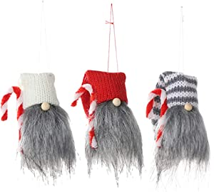 Amosfun 3pcs Christmas Tree Hanging Doll with Crutch Lucky Gnome Pendant Scandinavian Tomte Door Wall Ornament Decorations Gift - Red+White+Grey White