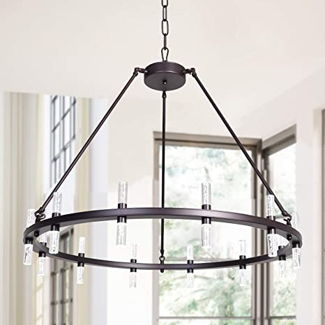 Amazon Com Meerosee Led Chandelier Modern Farmhouse Pendant Lighting Fixture D35 43 Acrylic Shade 24 Lights Round Rustic Dining Room Oil Rubbed Bronze Chandeliers For Island Living Room Dimmable Home Improvement