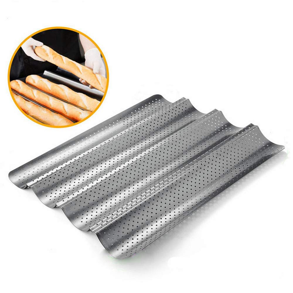 MonLiya Bread Lame Baguette Pan French Bread Baking 4 Wave Loaves Loaf Bake Mold Toast Cooking Bakers Molding Nonstick Perforated Baguette Pan 4 Gutter Oven Toaster Pan Stainless Steel Tray