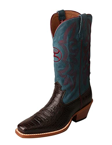 Western Boot Women Walking Gold Buckle 8.5 B Coffee Blue WHY0008