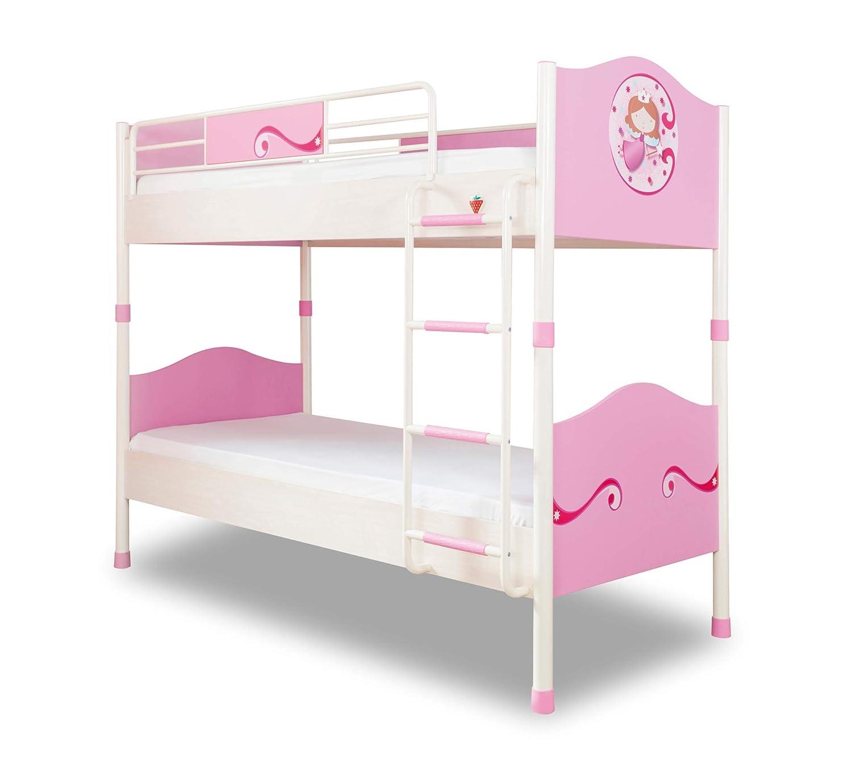 COM - Cama para Dormitorio para niña O niña - Un litera decorado con La figura de una Princesa sobre La cabecero - Incluye n.2 colchones - Dimensiones Cama: ...