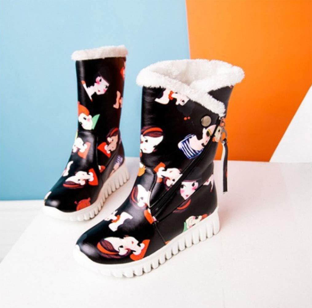 HRN Frauen Schnee Stiefel Farbe Farbe Farbe Oberfläche Dicke Basis runden Kopf flach mit Stiefel seitlichen Reißverschluss Quaste Cartoon Muster Dekoration Dicke warme Baumwolle Schuhe Winter,schwarz,39EU ad4ee1