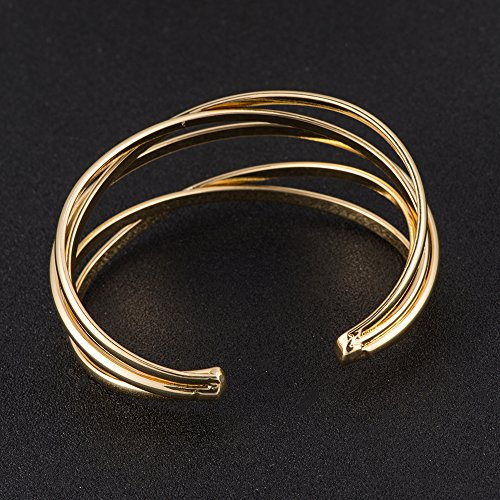 BEICHUANG Multi-layer Ancient Bronze Wire Cross Hollow Out Retro Ethnic Puck Adjustable Bangle Charm Bracelet (Gold1) by BEICHUANG (Image #4)
