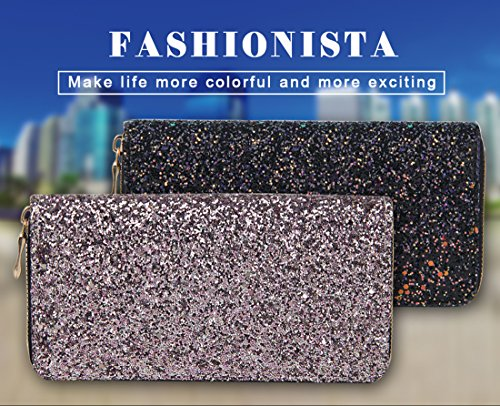 Pink Glitzy Wallet Around Purse Glitter Glamorous Zip Badiya Clutch Women Fashion Bling Sw7PSgq
