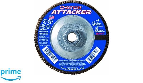 SAIT 76321 Ovation Attacker Flap Disc United Abrasives 4-1//2 x 5//8-11 Z 120x 10 Pack