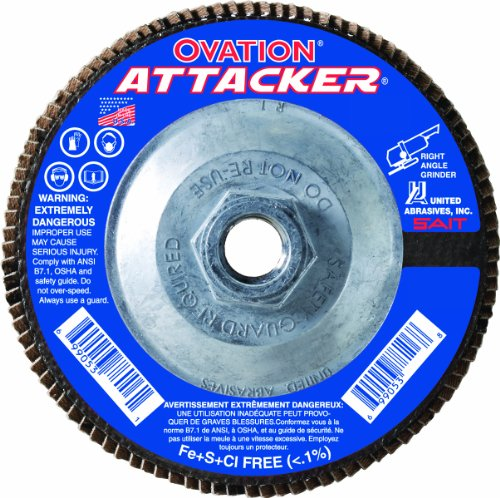 United Abrasives- SAIT 76318 Ovation Attacker Flap Disc, 4-1/2 x 5/8-11 Z 60x, 10 Pack by United Abrasives- SAIT