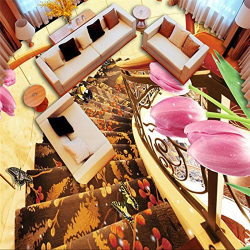 - Mznm Rotary Stairs Tulips Luxury And Elegant 3D Stereo Flooring Custom Large Fresco Pvc Waterproof Thick To Paste