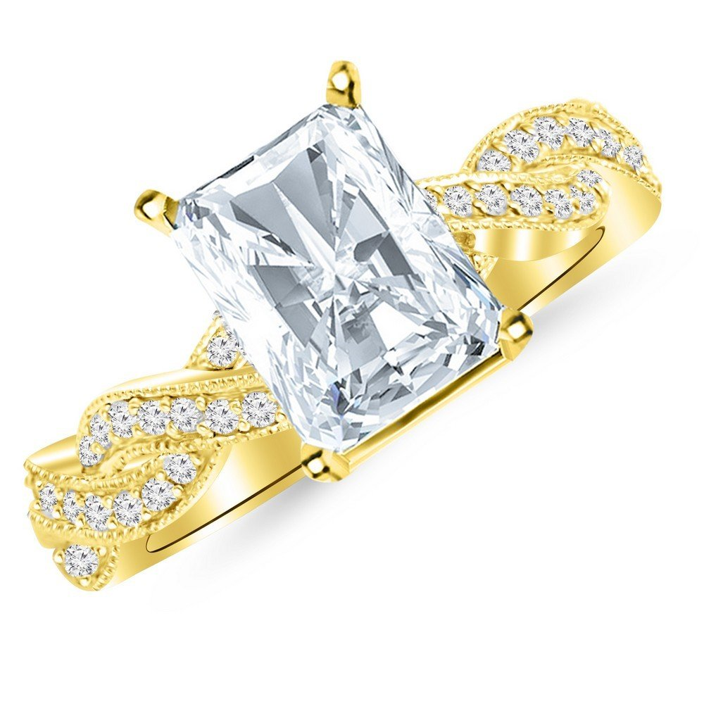 0.58 Cttw 14K Yellow Gold Radiant Cut Vintage Eternity Love Twisting Split Shank Diamond Engagement Ring With Milgrain with a 0.3 Carat H-I Color SI1-SI2 Clarity Center