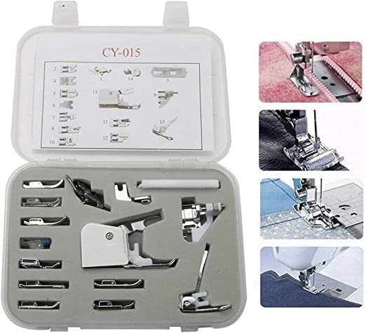 HM-015 - Juego de prensatelas universal para máquina de coser (15 ...