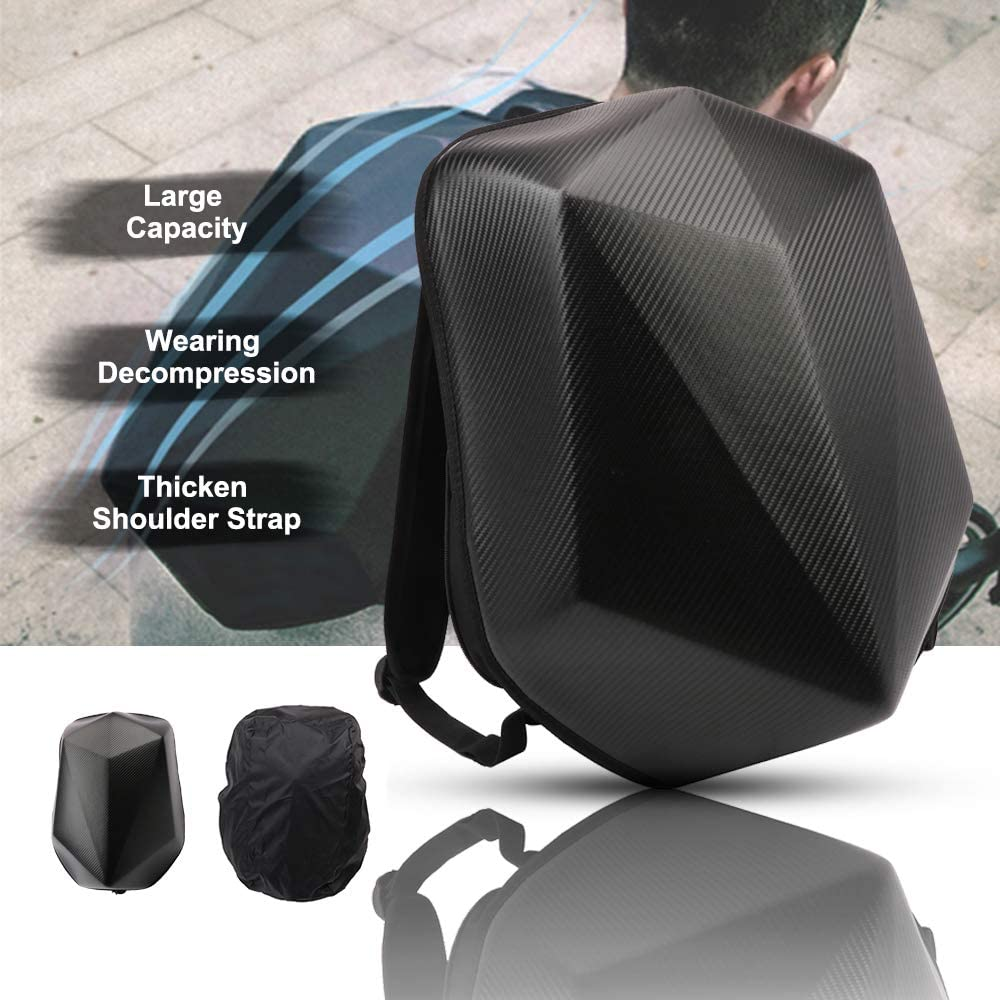 Motorcycle Backpack Waterproof Hard Shell Men Backpack Carbon Fiber hardshell