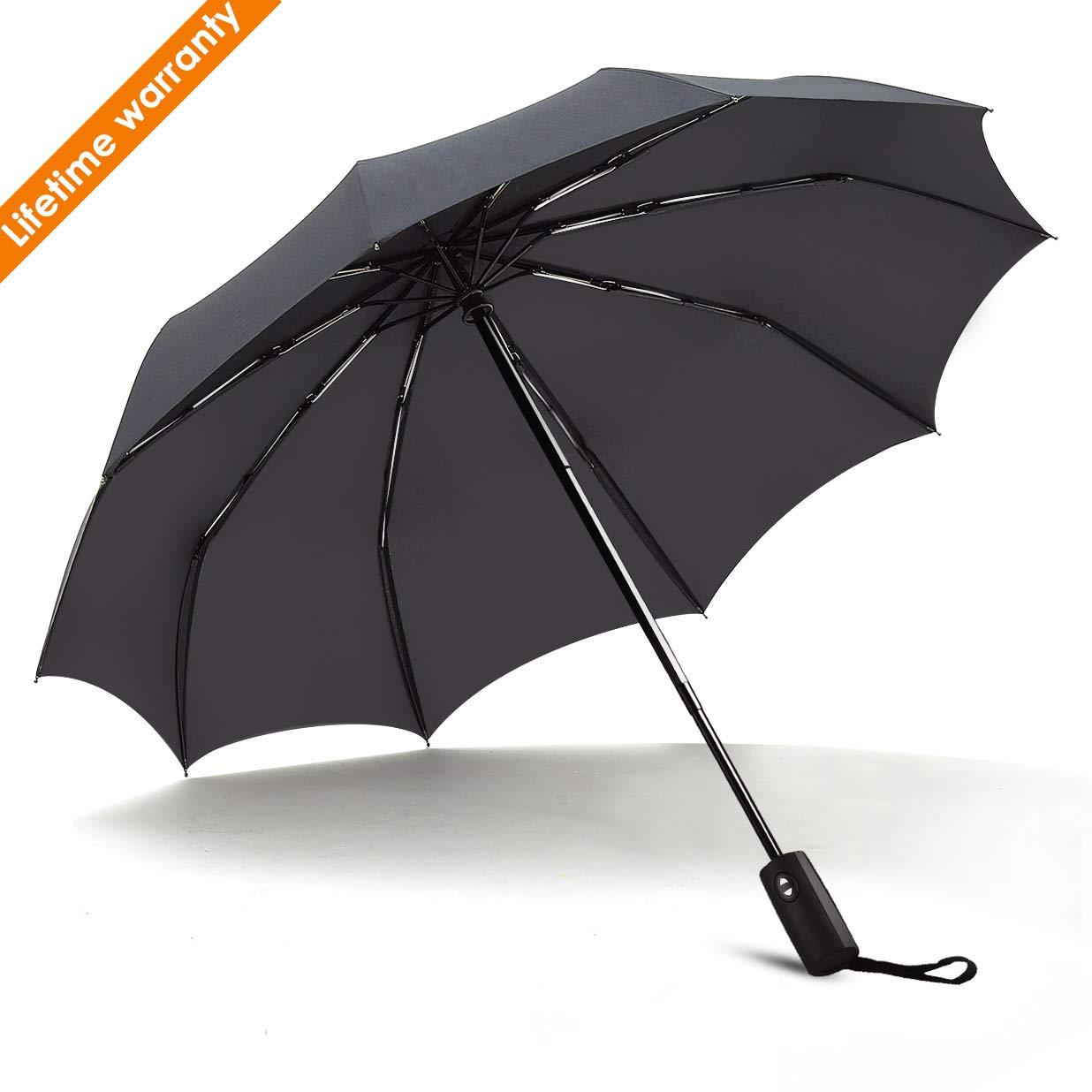 JUKSTG Umbrella 10 Ribs Auto Open/Close Windproof Rain Umbrella Waterproof Travel Umbrella Portable Umbrellas with Ergonomic Handle, Black