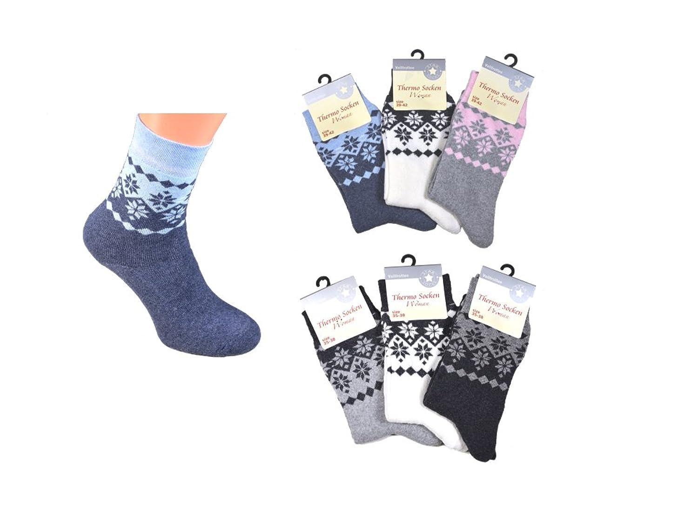 3er oder 6er Pack Damen Thermo-Socken Frottee Schneekristall Motiv Norweger-Muster Schneeflocke warme Thermo-Socke Homesocks