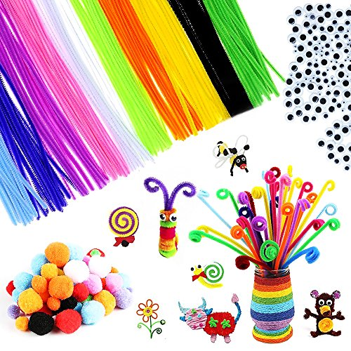 650 Pcs Craft Supply Set, DIY Art Supplies Includes 200Pcs Pipe Cleaners Chenille Stem, 200Pcs Self-Sticking Wiggle Googly Eyes and 250Pcs Pompoms for DIY School Art Projects by Baleauty -