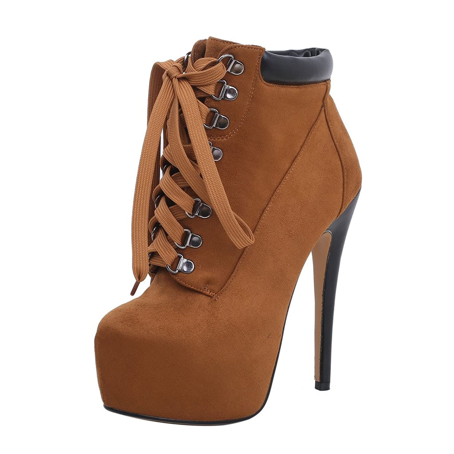 Womens Castation Designer Fashion Sexy Casual Sweet Round Toe 16CM Stiletto Self Tie Boots
