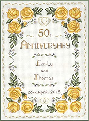 Bodas De Oro Sampler 50 ° Aniversario-Cross Stitch Kit De 14 Aida