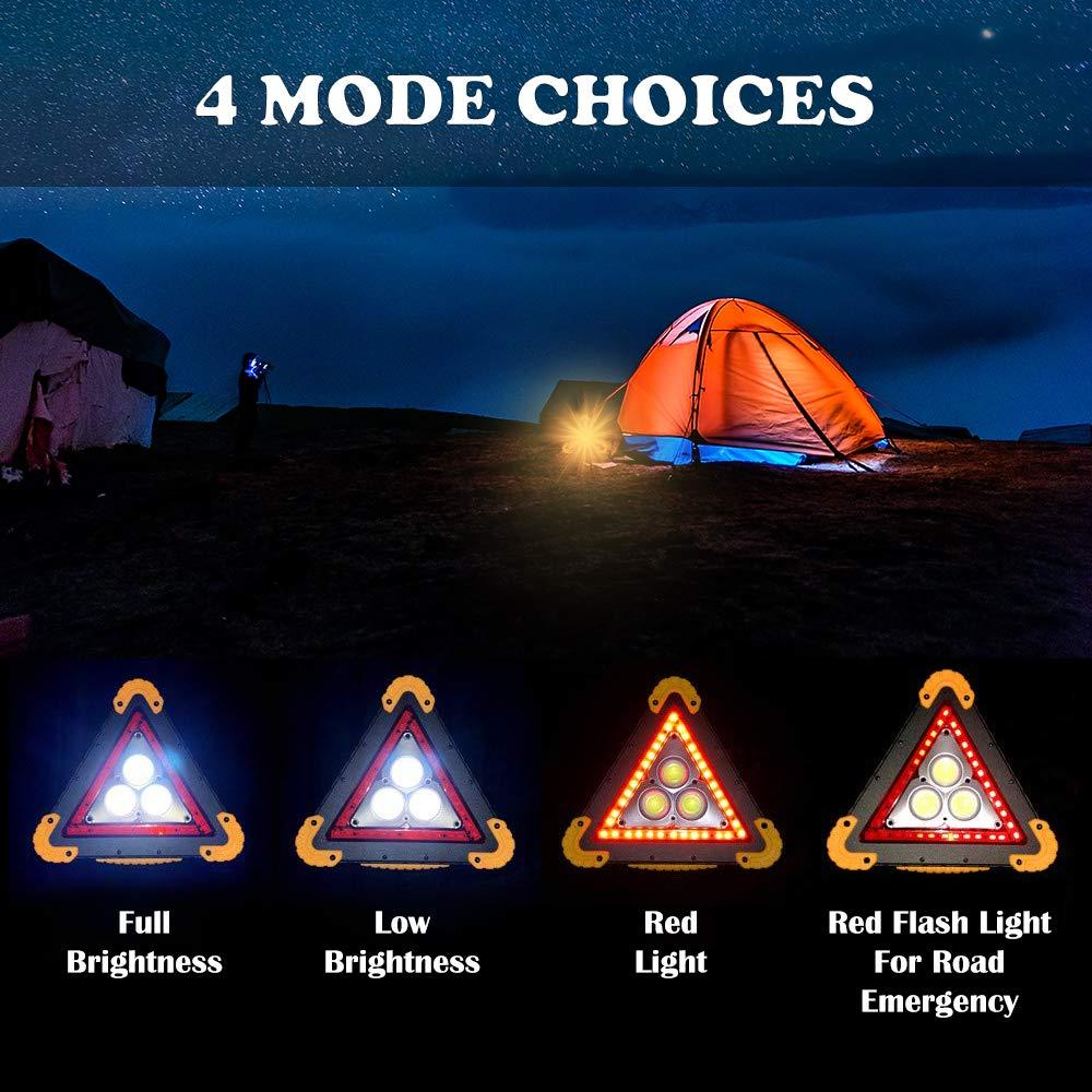 LEDGLE Luces de Trabajo LED y Destellos de Carretera Emgergency con Luz de Advertencia de COB Recargable USB Intermitente de Peligro Rojo de 30W Luz de Advertencia de Emergencia Tri/ángulo del Coche