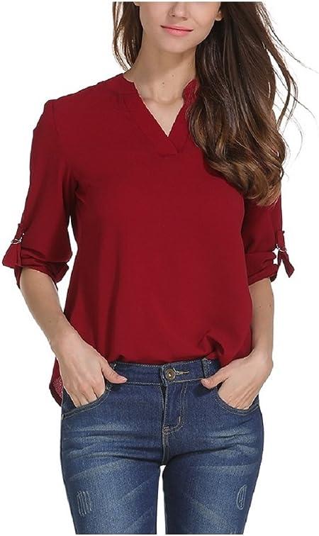 Heeecgoods Camisa de Gasa de Manga Larga para Mujer con Mangas largas en chifón para Elegante OL Soiree (Color : Vino Rojo, tamaño : 4XL): Amazon.es: Hogar
