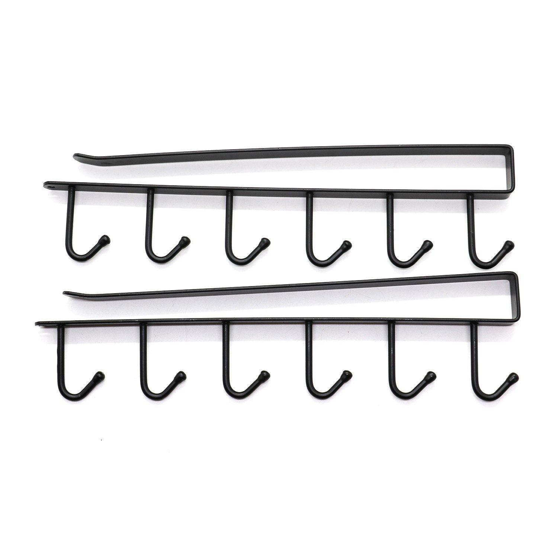 IDS Multi-function Coffee Mug Hooks Metal Hanger Rack Hanging Storage Shelf for Cabinet Wardrobe (2 Pack)