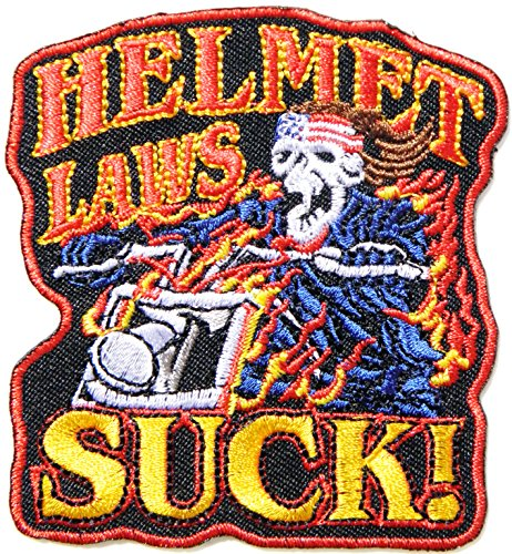 HELMET LAWS SUCK Ghost Skull Hippie Funny Biker Patch Sew Iron on Embroidered Applique Badge -