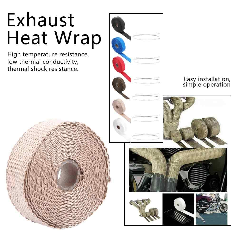 Practical 5m Car Insulation Tape Exhaust Heat Wrap with 4 Stainless Steel Cable Ties Blue