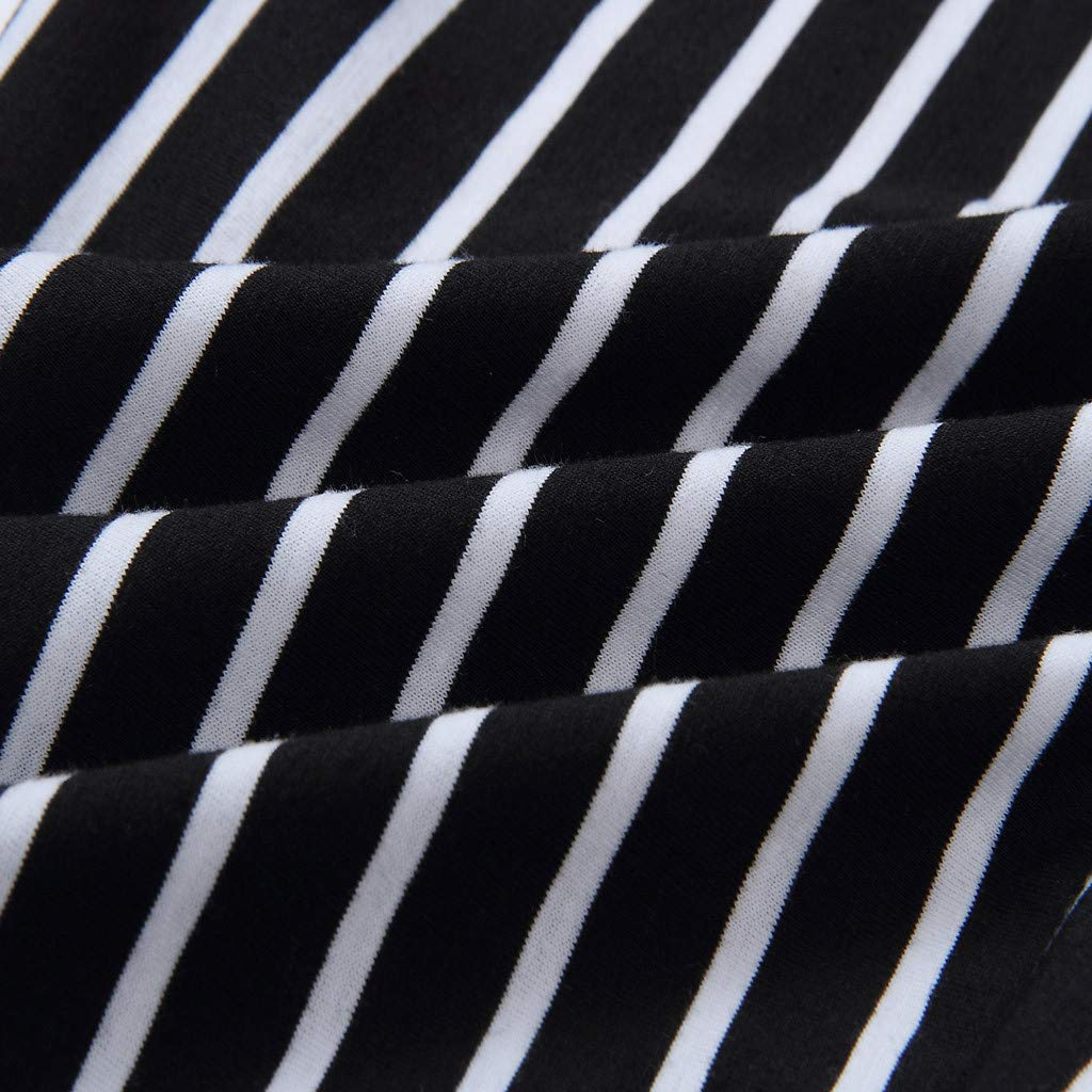Psunrise Mono Womens Slim Bodysuits Print V-Neck Vertical Stripes Elastic Waist SleevelessTrousers Jumpsuit(L, Black) by Psunrise (Image #3)