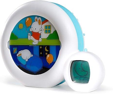 Claessens' Kid Moon 3 en 1 (veilleuse, indicateur & réveil) Reveil Musical Enfant Educatif JourNuit Lumineux Blanc