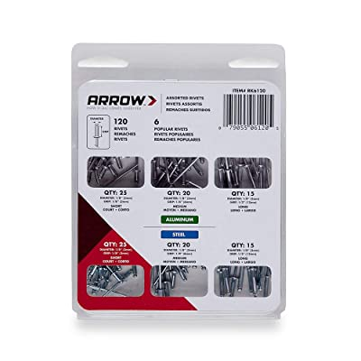 Arrow Fastener RK6120 Rivet Assortment Kit, 120-Pack: Home Improvement