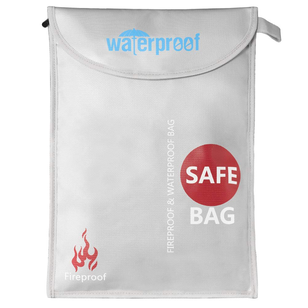 Fireproof Document Bag, DEEPLITE Silicone Coated Fire and Water Resistant Money Bag, Safe Jewelry Passport Storage, 16'' x 11''