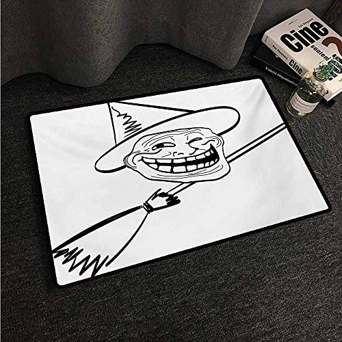 HCCJLCKS Non-Slip Door mat Humor Halloween Spirit Themed Witch Guy Meme LOL Joy Spooky Avatar Artful Image Print Easy to Clean Carpet W31 xL47 Black and White -