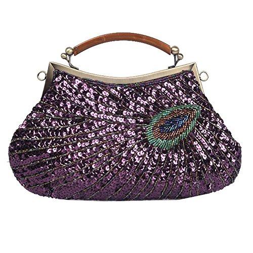 Women's Purse£¬28 Party Bags Antique X Sequin Bag Beaded Dinner 20cm Clutch Peacock Evening purple NVBAO Sx8RPqdS