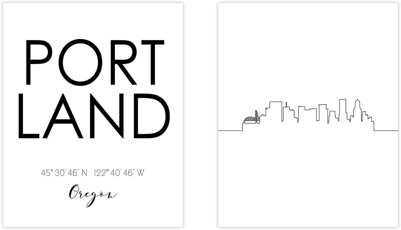 N&T Portland Skyline Wall Décor Prints - Set of 2 (8x10) Art Photos - Typography Minimalist Poster