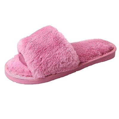 Alonea Womens Ladies Slip On Sliders Fluffy Faux Fur Flat Slipper Flip Flop Sandal