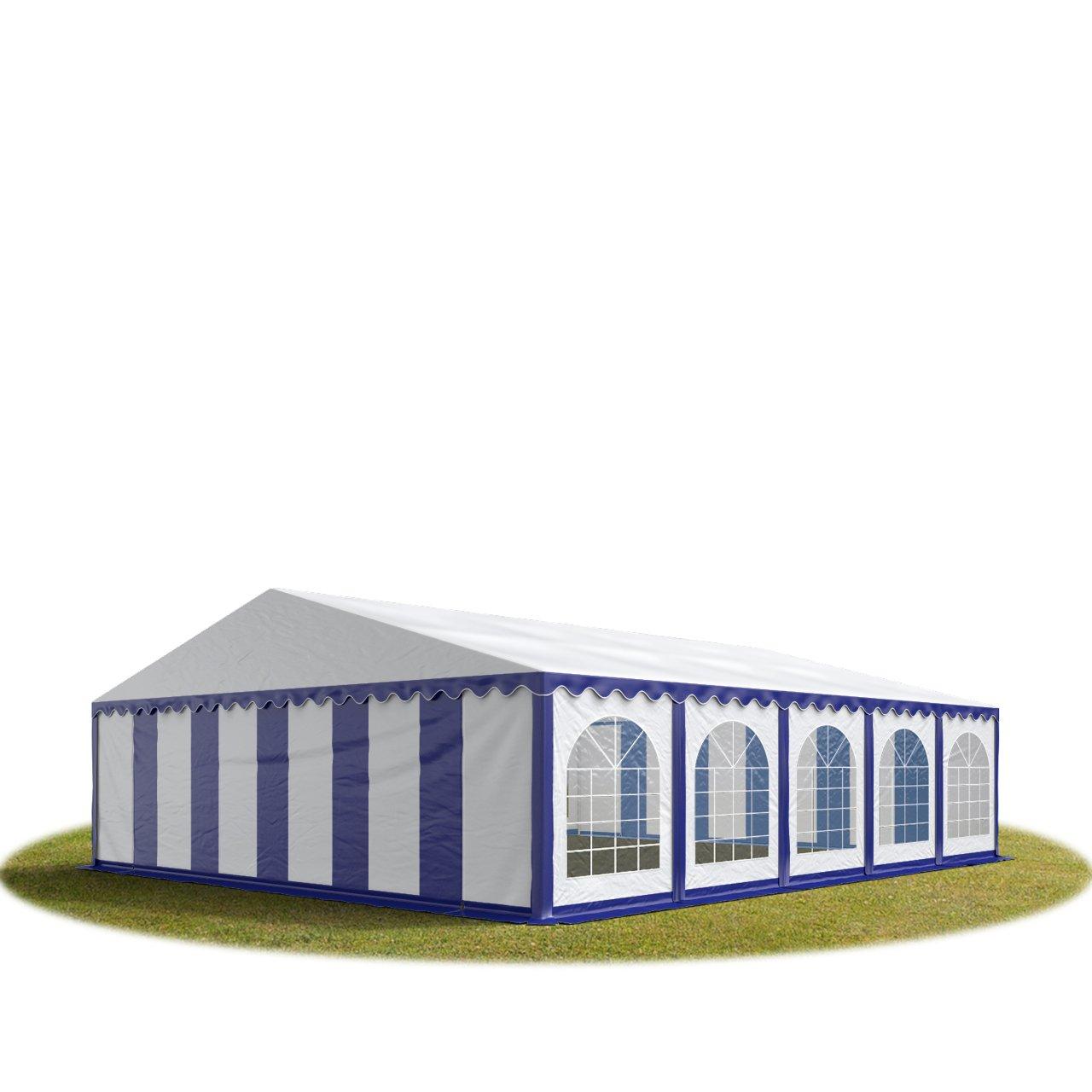 Festzelt Partyzelt 8x10m, hochwertige 500/m² PVC Plane in blau-weiß, 100% wasserdicht, vollverzinkte Stahlkonstruktion mit Verbolzung