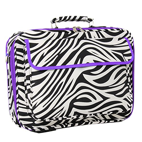 Zebra Trim Purple - World Traveler 17 Inch Laptop Computer Case, Dark Purple Trim Zebra, One Size