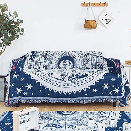 ARIESDY - Manta de algodón 100% Tejido para sofá, Funda cálida de algodón, Manta Acolchada Bohemia, 180 x 300 cm, constelación Blanca: Amazon.es: Hogar