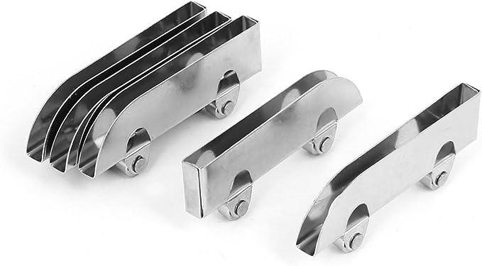 sourcingmap® Vitrina de cristal puerta corredera de Barraillos abrazadera rueda de polea tono de plata de 60 mm de longitud 5pcs: Amazon.es: Bricolaje y herramientas