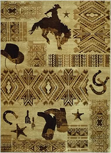 Western Area Rug Design 385 Lodge 7 Feet 7 Inch X 10 Feet 6 Inch