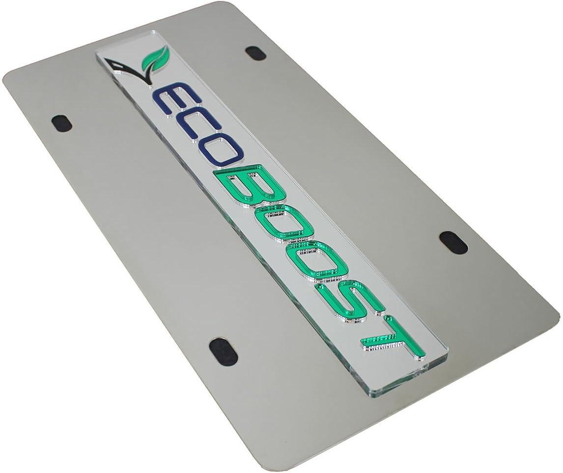 Logo On Polished Stainless Steel License Plate for Ford Ecoboost Inc Eurosport Daytona
