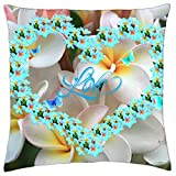 "Plumeria Heart & Butterflies For Adelina - Throw Pillow Cover Case (18"" x 18"")"