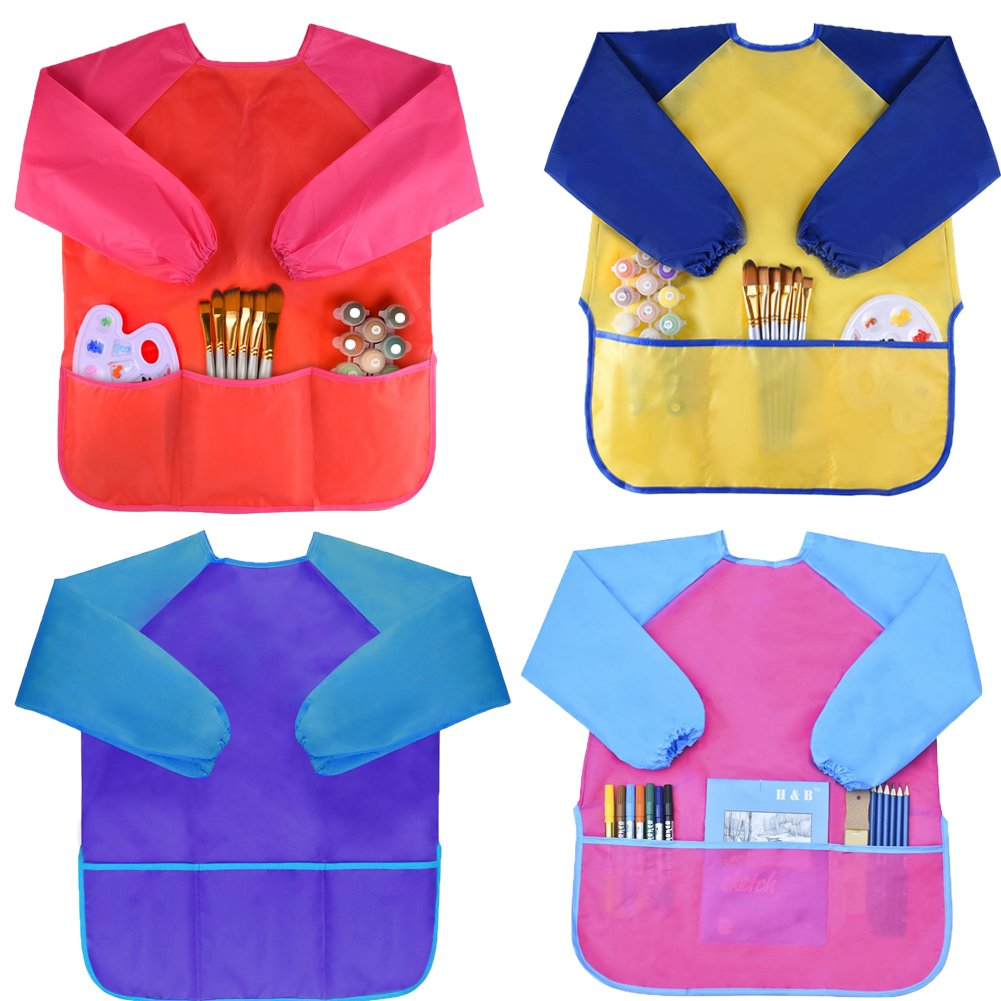 Bosoner Kids Art Aprons Children Art Smock with Waterproof Artist Painting Aprons Long Sleeve with 3 Pockets for Age 2-6 Years (2 Pack) (Red+Blue Yellow+Pink)