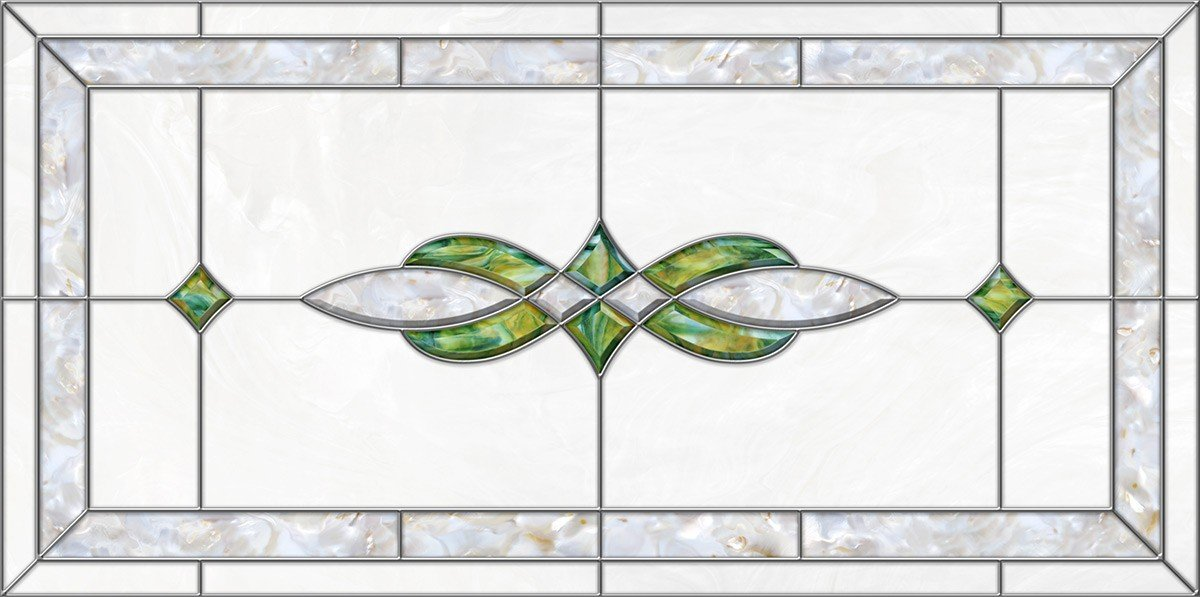 Decorative Fluorescent Light Covers - Stained Glass 11 - Green Pearl (47 3/4 x 23 3/4)