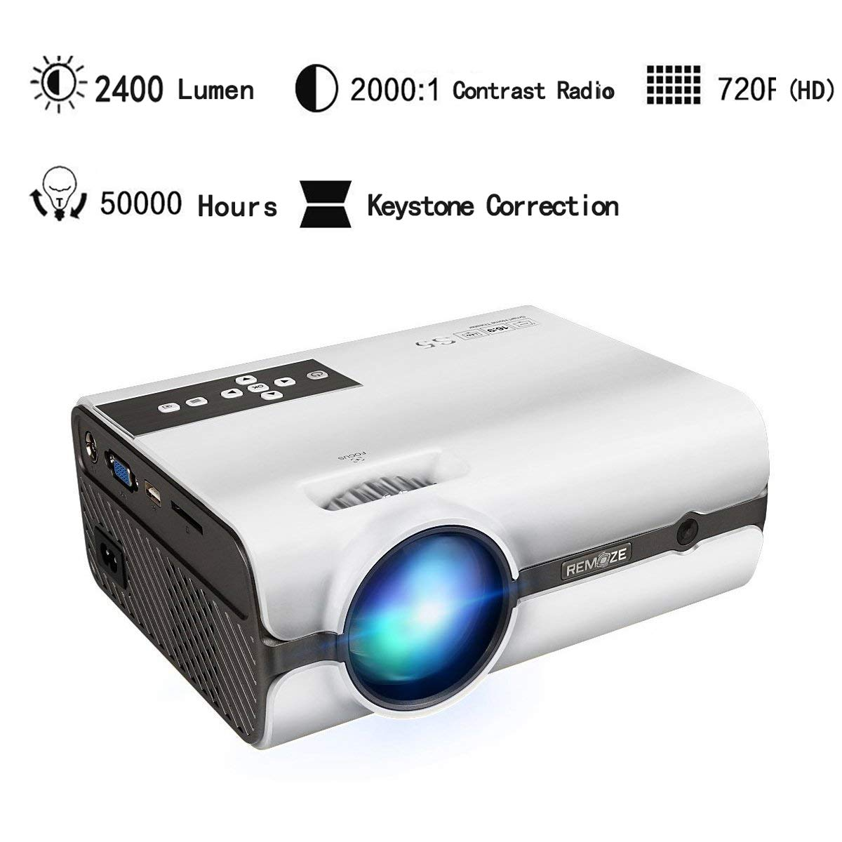EZAPOR LED Mini Video Projector 2400 Lumen Support 1080 P Portable Projector for Home Theater Cinema Movie Entertainment Games Parties White S5