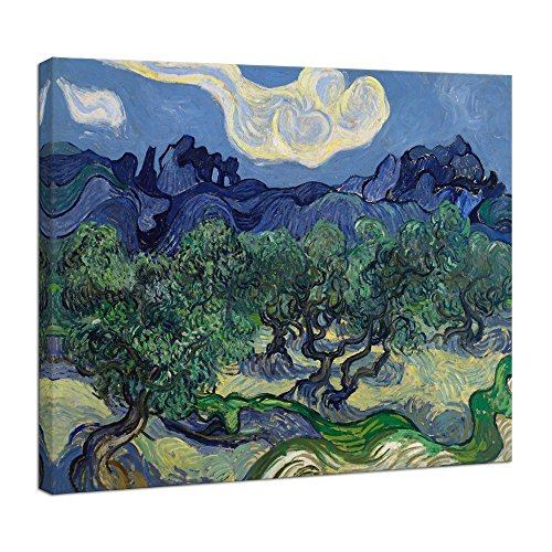 (Wieco Art Olive Trees by Van Gogh Oil Paintings Reproduction Artwork Abstract Canvas Prints Wall Art Stretched and Framed Abstract Landscape Pictures Ready to Hang for Kitchen Home Office Decorations)