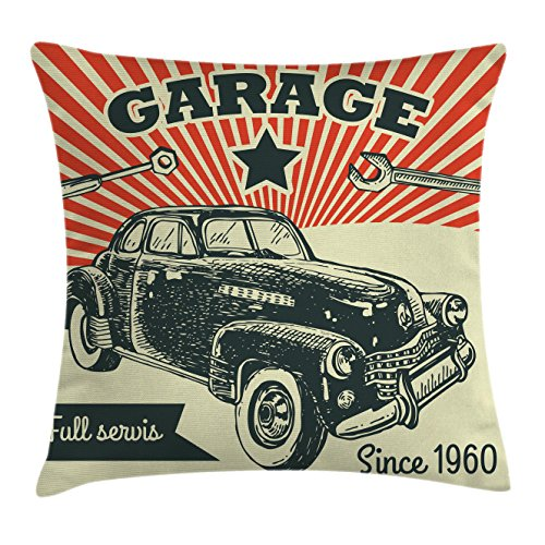 Cars Decor Throw Pillow Cushion Cover by Ambesonne, Retro Car and Garage Poster Style Picture Grunge Distressed Effects 1960s Theme, Decorative Square Accent Pillow Case, 16 X 16 Inches, Grey Beige