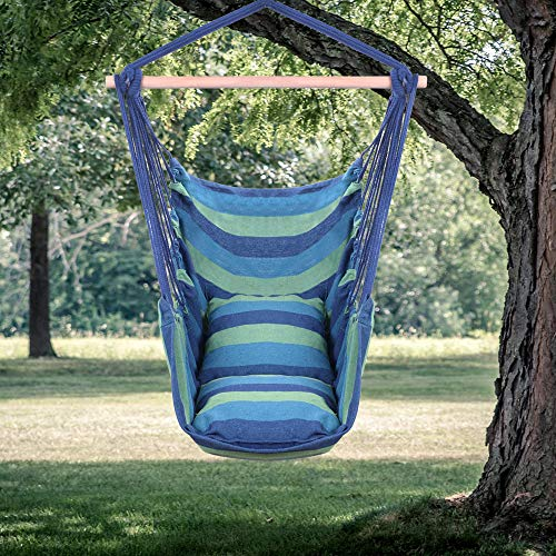 (Goujxcy Hammock Chair, Hanging Rope Hammock Chair Large Cotton Weave Porch Swing Seat Comfortable and Durable Hanging Chair for Yard, Bedroom, Porch, Indoor, Outdoor,Blue)