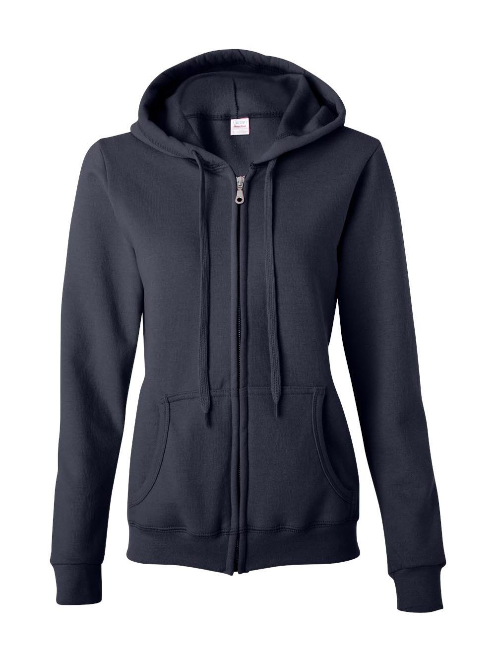 Gildan Womens Heavy Blend 8 oz. 50/50 Full-Zip Hood(G186FL)-Navy-M