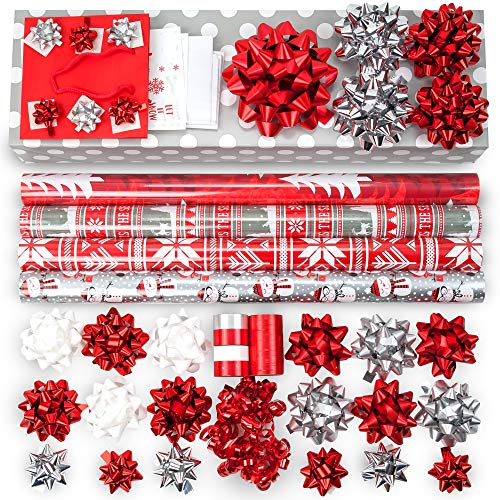 - Red + Silver + White Designer Wrapping Paper Set: 4 Rolls (7 Designs) of Premium Gift Wrap (80 sq. ft.) with 30 Coordinated Bows, 5 Ribbons, and 24 Gift Tags with Bonus Euro Tote and Tissue Paper